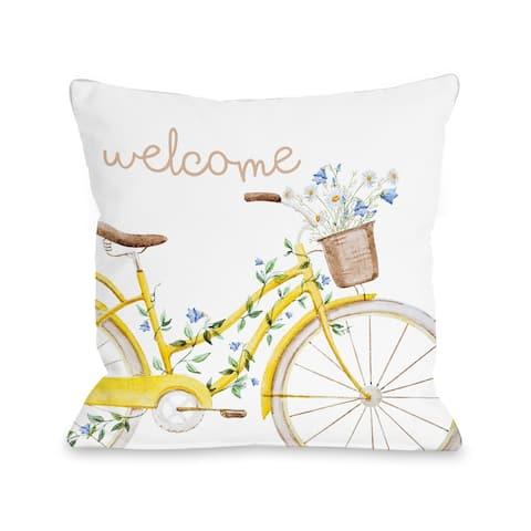 Welcome Bike - Yellow Throw Pillow