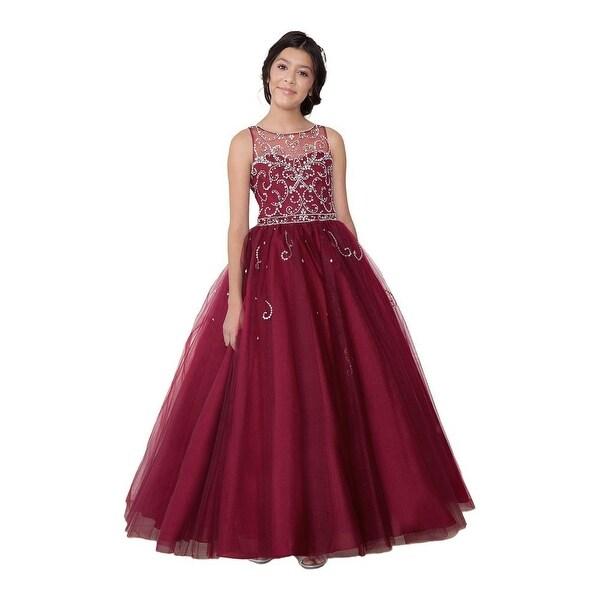 Shop Girls Vine Bejeweled Floor Length Pageant Dress Ships To