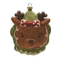 """4.5"""" Merry & Bright Green  Brown and Red Glittered Shatterproof Reindeer Head Christmas Ornament"""