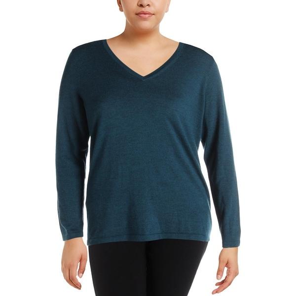 Shop Lord Taylor Womens Plus Sweater Merino Wool V Neck 0x