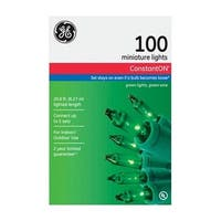 GE 64423 100 Count Green Constant On Mini String Light Set