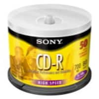 Sony CD-R, 50CDQ80SP, 80 min, Branded, 48x, 50pk Spindle
