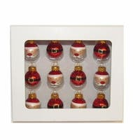 Club Pack of 12 Red and White Christmas Themed Glass Ball Ornaments 1""