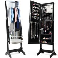 Costway Mirrored Jewelry Cabinet Standing Armoire Storage Organizer w/ LED Lights Black