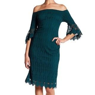 Sharagano Womens Petite Floral-Lace Sheath Dress