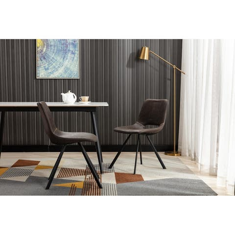 Home Beyond Synthetic Leather Dining Chairs Set of 2 PC Black UC-14BLK - 20'' H x 14.5'' W x 20'' D