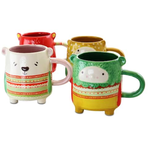 Gibson Home Buddies 4 Piece 18.4 Ounce Stoneware Figural Mug Set in Assorted Designs