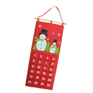 "27.5"" Red and White Decorative Felt Snowman Advent Calendar Hanging Christmas Decoration"