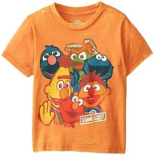Sesame Street Little Boys' Line Crowd Burnout T-Shirt