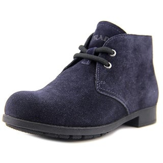 Prada 0T0443 Youth Round Toe Synthetic Blue Ankle Boot