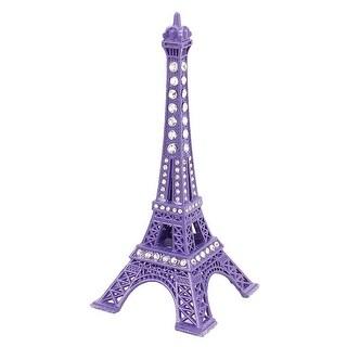 """Unique Bargains Metal Mini France Paris Eiffel Tower Sculpture Statue Model Ornament 5"""" Purple"""