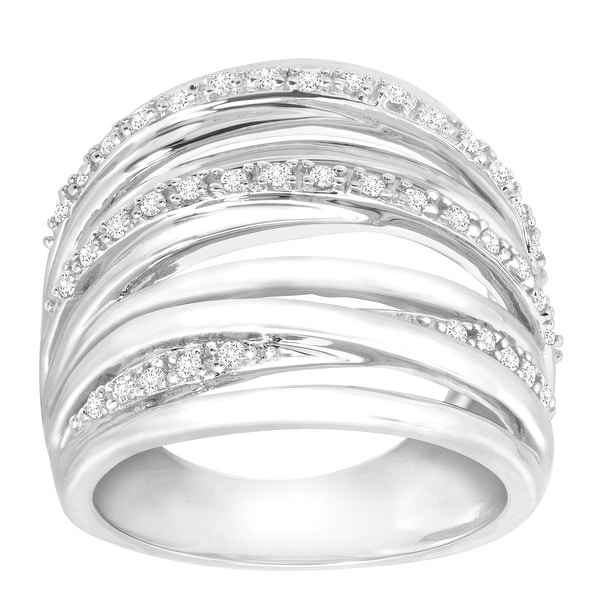 1/5 ct Diamond Banded Ring in Sterling Silver