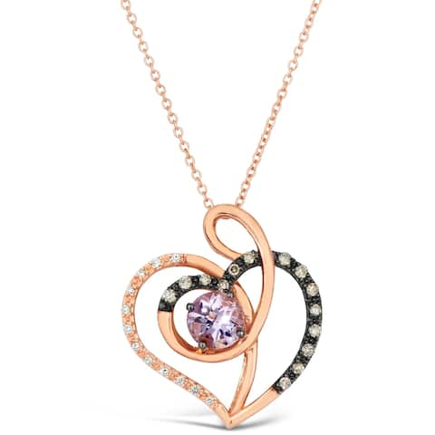 Encore by Le Vian Chocolate Pink Amethyst Diamond Pendant 14K Rose Gold 18""