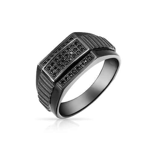 Wide Flat Top 925 Sterling Silver Cubic Zirconia Black Rhodium CZ For Men Promise Championship Ring