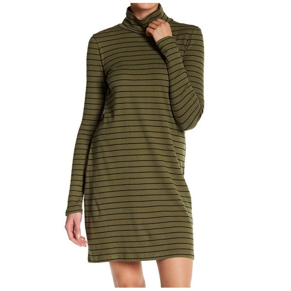 d89b045b6c6 ABOUND NEW Olive Green Womens XS Turtleneck Stripe Ribbed Sweater Dress 255