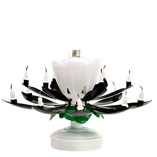 Shop 1 Pc Musical Flower Birthday Candles Black