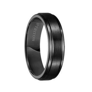 ELROY Raised Satin Finished Center Black Tungsten Carbide Comfort Fit Ring with Polished Step Edges by Triton Rings - 6mm