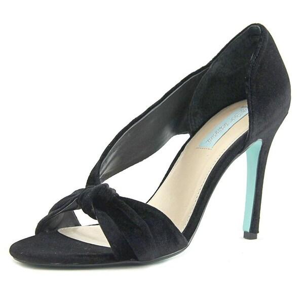 Betsey Johnson Abi Women Open Toe Canvas Black Sandals