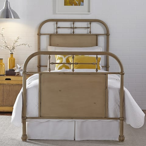 Carbon Loft Cauthen Youth Distressed Metal Vintage Cream Twin Metal Bed