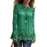 Fashion Womens Lace Long Sleeve Shirt Casual Blouse Loose Cotton Tops T Shirt