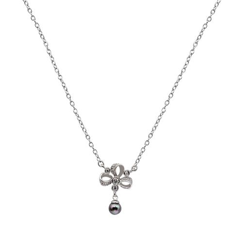 Pearl Sterling Silver Ball Chain Necklace by Orchid Jewelry