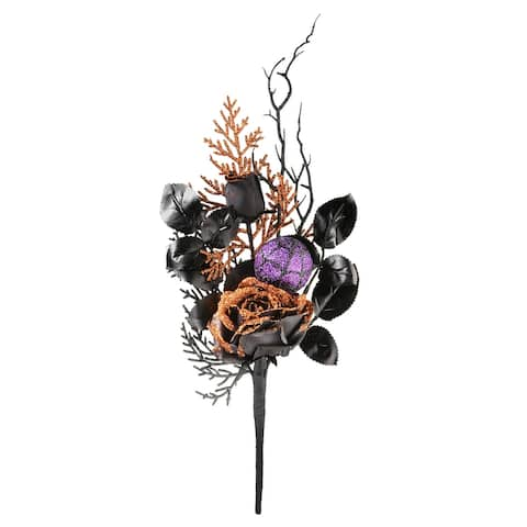"""20"""" Halloween Rose and Purple Ornament Pick Pair"""