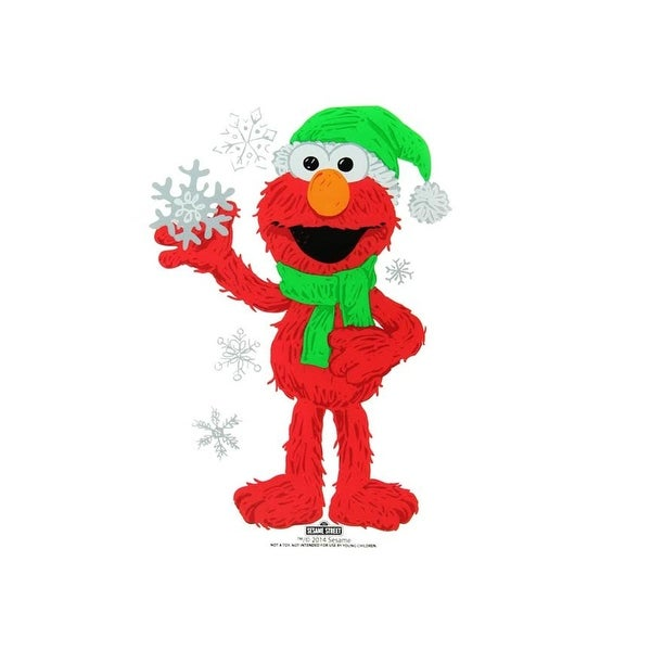 """6.5"""" Sesame Street Elmo with Snowflakes Jelz Christmas Window Cling - RED"""