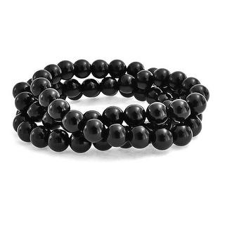 Bling Jewelry Set of 3 Stackable Imitation Onyx Bead Stretch Bracelets - Black