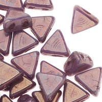 Czech Glass Kheops par Puca, 2-Hole Triangle Beads 6mm, 9 Grams, Opaque Violet/Gold Luster
