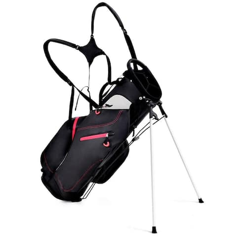 Costway 8.5'' Golf Stand Cart Bag Club 4 Way Divider Carry - Black