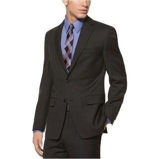 Calvin Klein CK Wool Sportcoat 42 Long 42L Black Stripe Slim Fit 2-Buttons
