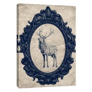 "PTM Images 9-108964  PTM Canvas Collection 10"" x 8"" - ""Framed Elk in Navy"" Giclee Elk Art Print on Canvas"