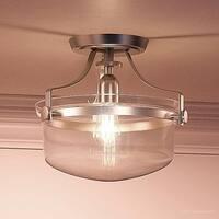 """Luxury Vintage Semi-Flush Ceiling Light, 10.5""""H x 13""""W, with Coastal Style, Urn Design,Brushed Nickel Finish"""