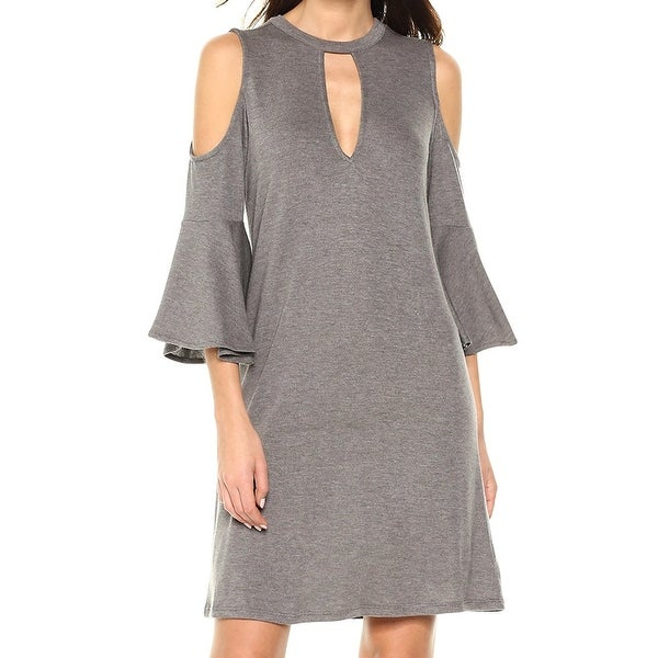 William Rast Gray Womens Size XS Cold-Shoulder Keyhole Shift Dress