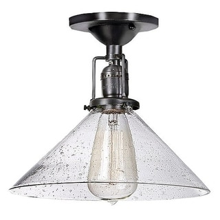 "JVI Designs 1202 S2-CB Union Square 1 Light 10"" Flush Mount Ceiling Fixture with Clear Hand Blown Seedy Glass Shade"