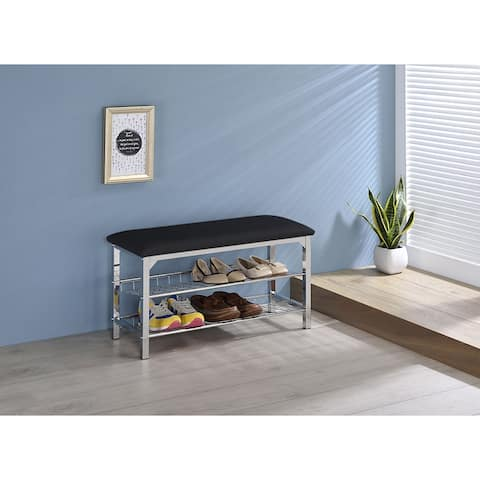 Chrome and Black Vinyl Shoe Rack Storage Bench