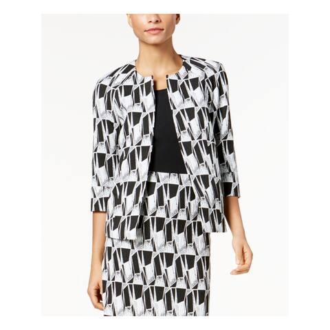KASPER Womens Black Printed Blazer Wear to Work Jacket Size 4