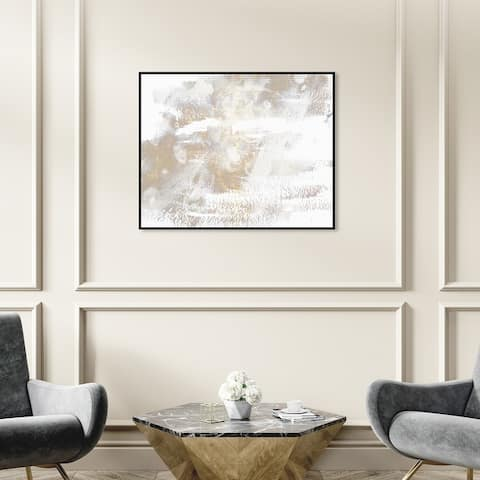 Oliver Gal 'Porcelain' Abstract Wall Art Framed Canvas Print Paint - White, Gold