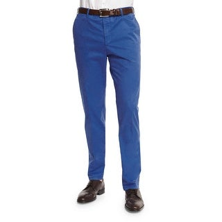 Zanella Devon Flat Front Chinos Pants Blue 32 Made In Italy