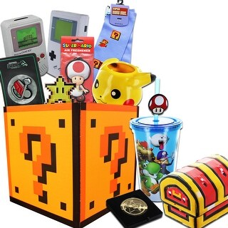 Super Mario and Nintendo Gift Box Bundle with Stunning Gold Coin Replica - multi