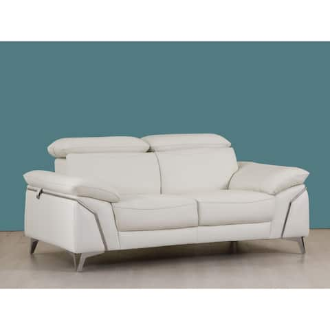 Modern Leather Upholstered Living Room Loveseat