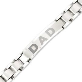 Stainless Steel Brushed & Polished 8.75in Dad Bracelet