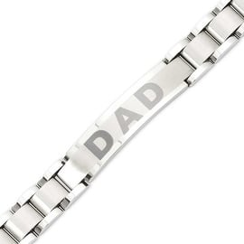Stainless Steel Brushed & Polished 8.75in Dad Bracelet|https://ak1.ostkcdn.com/images/products/is/images/direct/17202b0ed69d89916662b07f050610dee9f13733/Stainless-Steel-Brushed-%26-Polished-8.75in-Dad-Bracelet.jpg?impolicy=medium