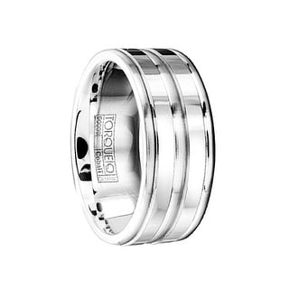 Polished Brushed Cobalt Wedding Ring With Beveled Edges By Crown Ring 9mm