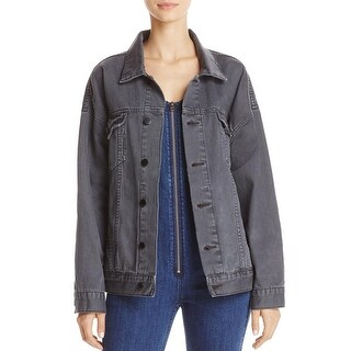 Free People Womens Denim Jacket Distressed Black Wash - XS/S
