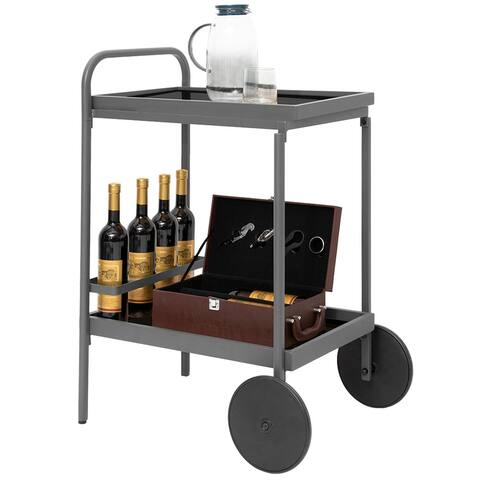 "Classics 2-Tier Durable Kitchen Bar Serving Cart Shelving on Wheels - 25.2"" L x 19.3"" W x 34.1"" H"