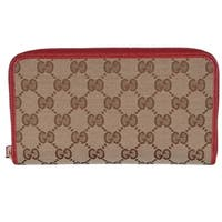 "Gucci 363423 Beige Red GG Guccissima Canvas Zip Around Wallet Clutch - 7 3/4"" x 4"" x 1"""