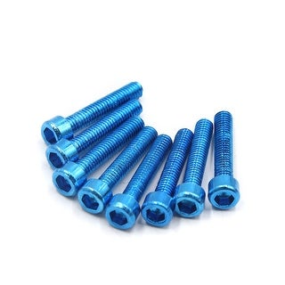 8 Pcs Universal Blue Metal 6mm Thread Dia Hexagon Bolts Screws For Motorcycle
