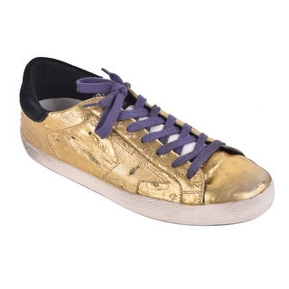 Golden Goose Gold Metallic Leather Low Top Superstar Sneakers