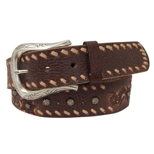 Roper Western Belt Womens Distressed Leather Silver Brown